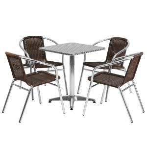 "23.5"" Square Indoor-Outdoor Aluminum Table with 4 Brown Rattan Chairs"