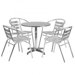 "27.5"" Round Indoor-Outdoor Aluminum Table with 4 Slat Back Chairs"