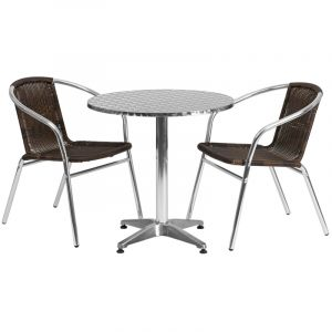 """27.5"""" Round Indoor-Outdoor Aluminum Table with 2 Brown Rattan Chairs"""