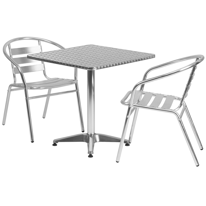 "27.5"" Square Indoor-Outdoor Aluminum Table with 2 Slat Back Chairs"
