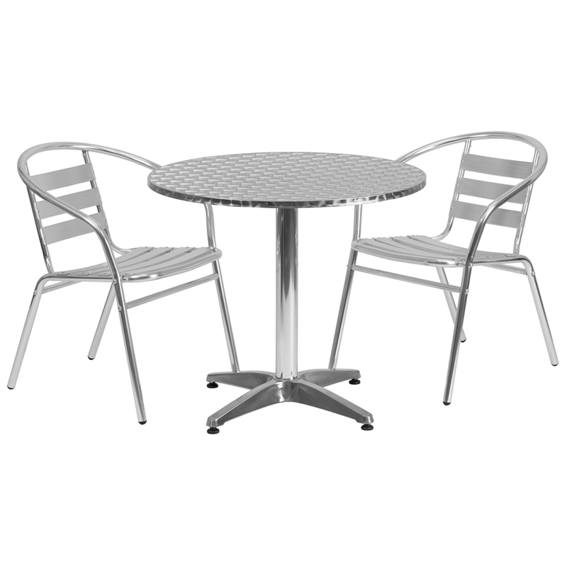 "31.5"" Round Indoor-Outdoor Aluminum Table with 2 Slat Back Chairs"
