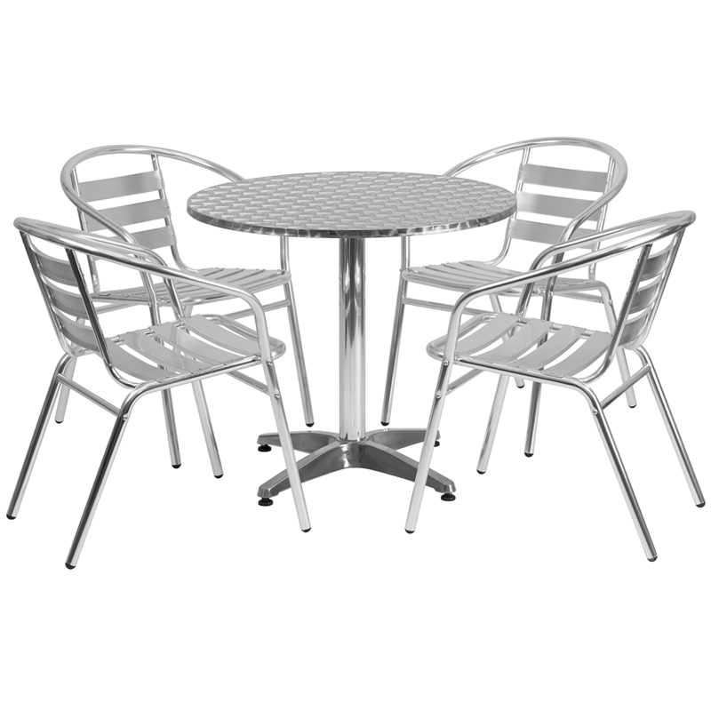 "31.5"" Round Indoor-Outdoor Aluminum Table with 4 Slat Back Chairs"