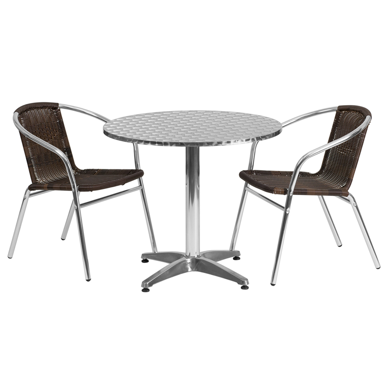 "31.5"" Round Indoor-Outdoor Aluminum Table with 2 Brown Rattan Chairs"