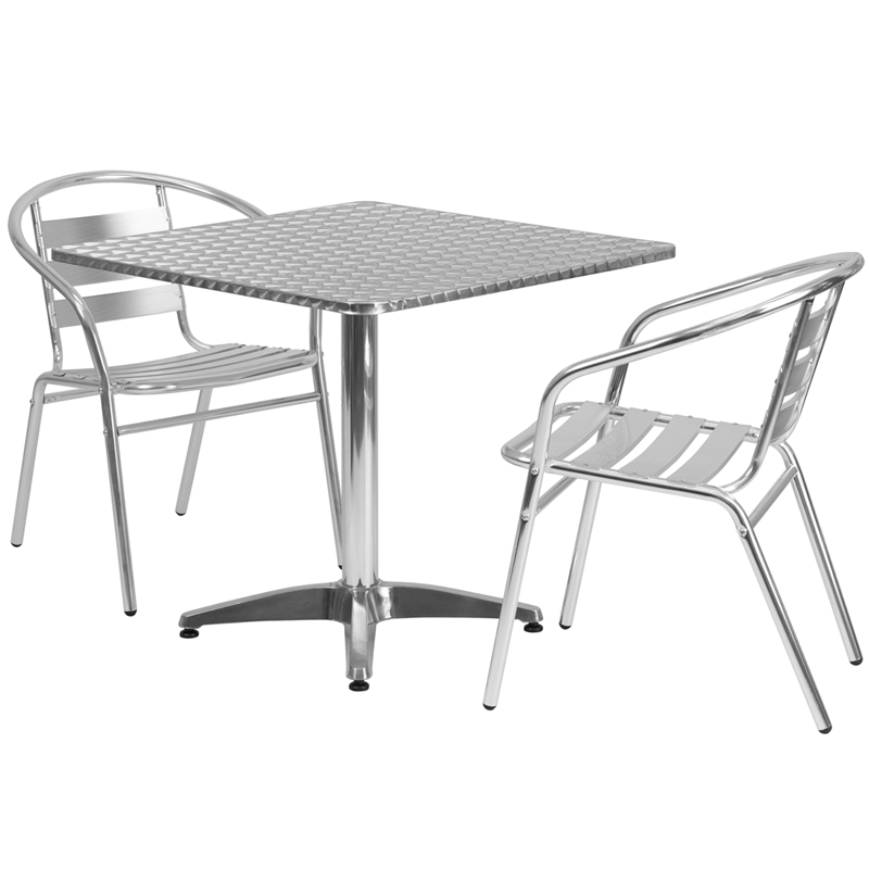 "31.5"" Square Indoor-Outdoor Aluminum Table with 2 Slat Back Chairs"
