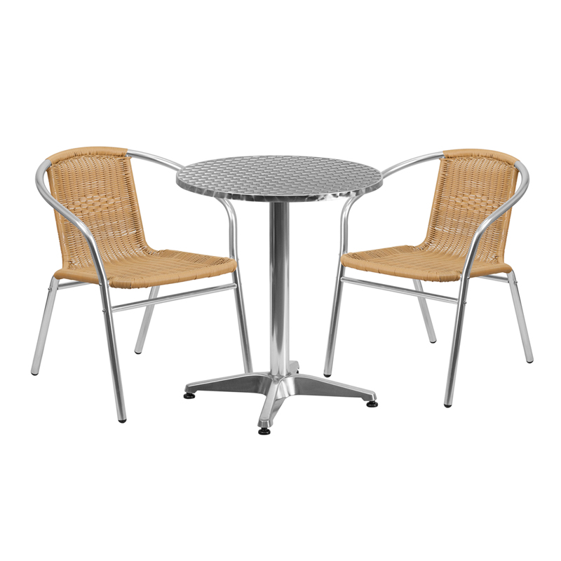 "Thebes Series 23.5"" Round Aluminum Indoor-Outdoor Table with 2 Rattan Chairs"
