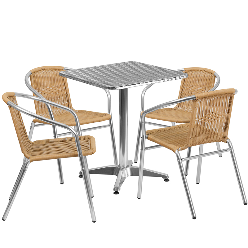 "Thebes Series 23.5"" Square  Aluminum Indoor-Outdoor Table with 4 Rattan Chairs"