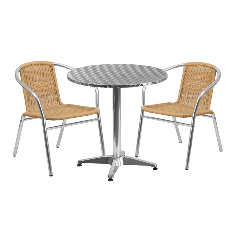 "Thebes Series 27.5"" Round Aluminum Indoor-Outdoor Table with 2 Rattan Chairs"
