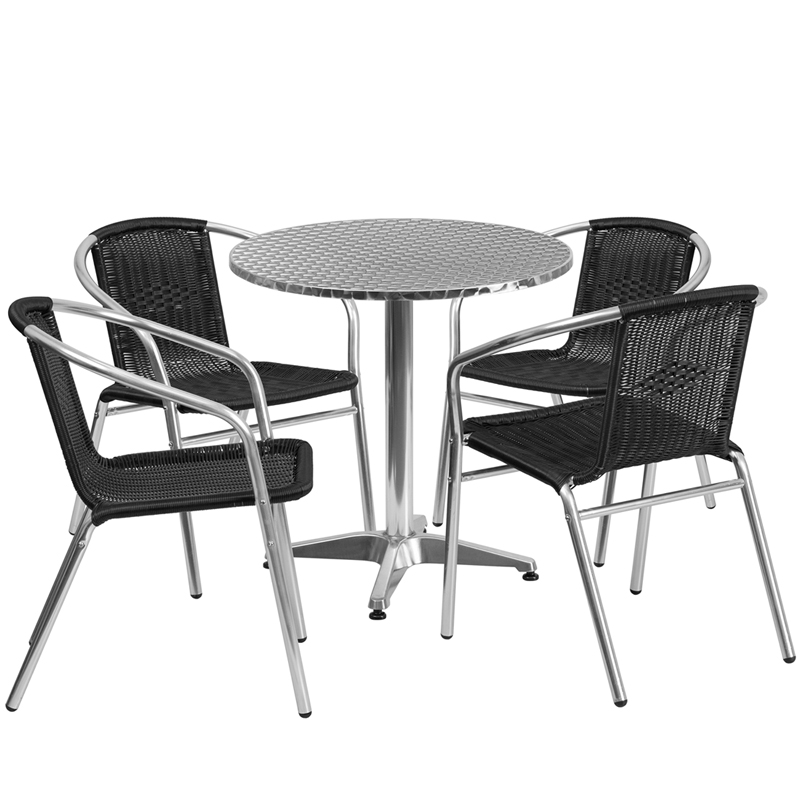 "Thebes Series 27.5"" Round Aluminum Indoor-Outdoor Table with 4 Rattan Chairs"