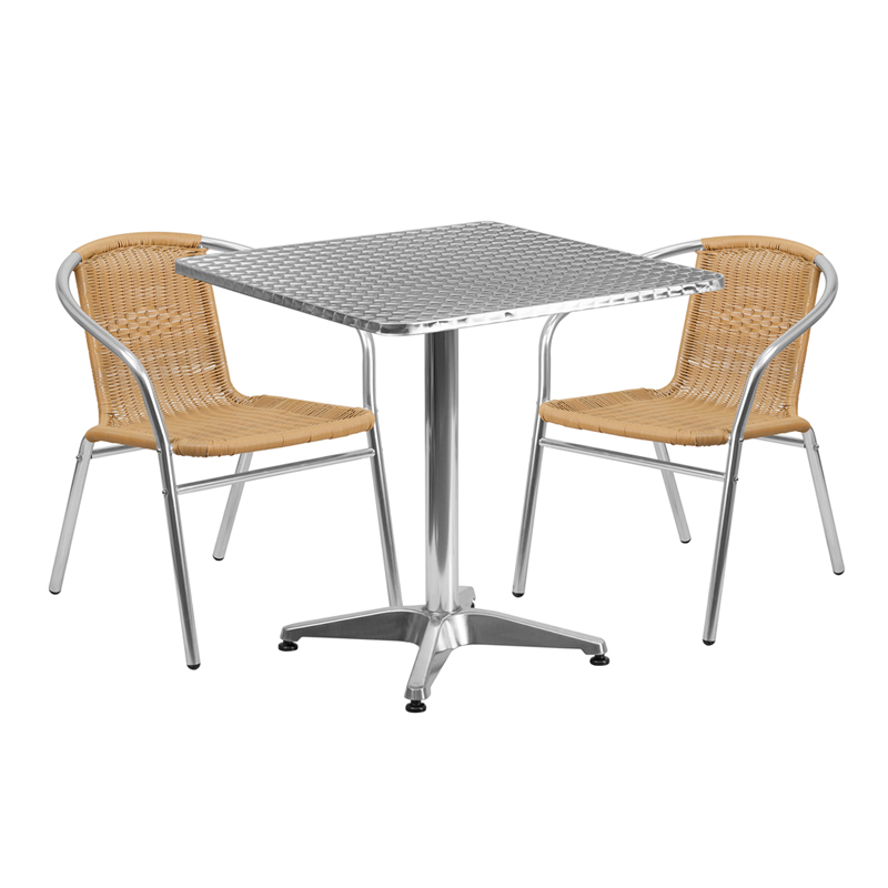 "Thebes Series 27.5"" Square Aluminum Indoor-Outdoor Table with 2 Rattan Chairs"