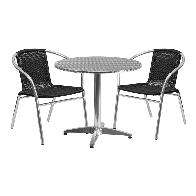"Thebes Series 31.5"" Round Aluminum Indoor-Outdoor Table with 2 Rattan Chairs"