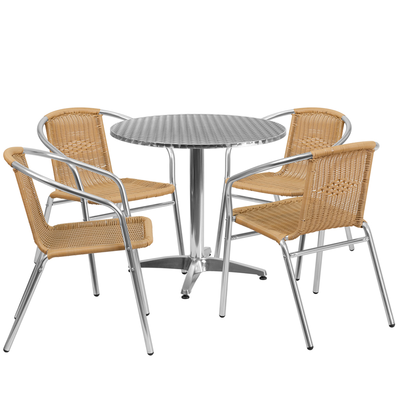 "Thebes Series 31.5"" Round Aluminum Indoor-Outdoor Table with 4 Rattan Chairs"