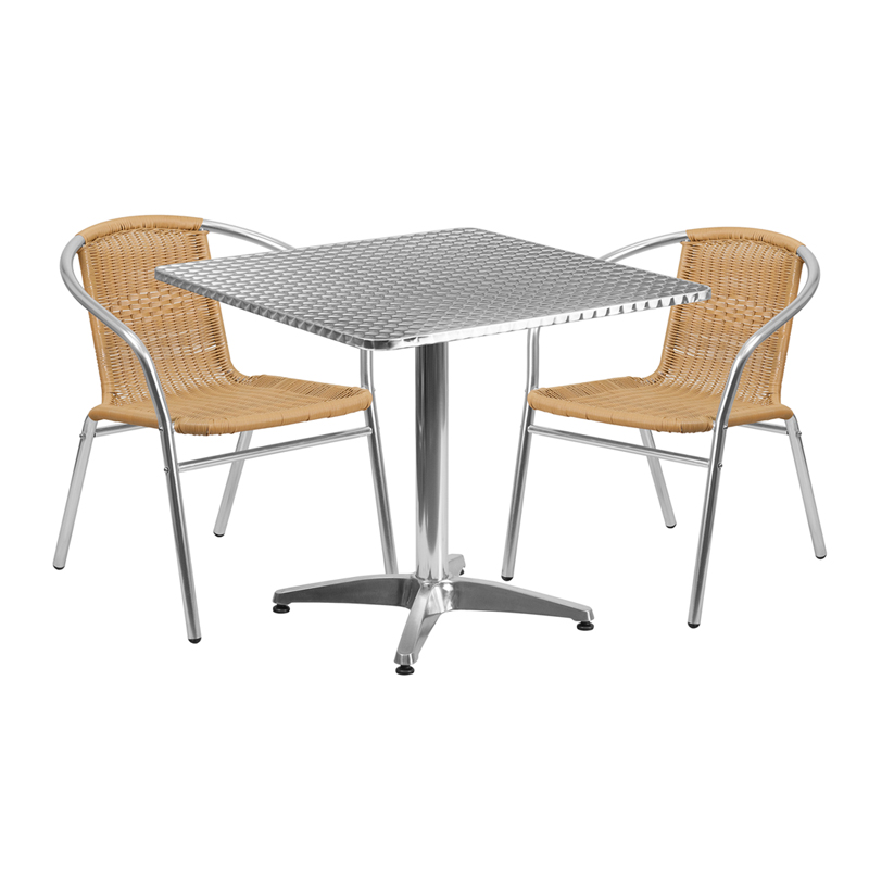 "Thebes Series 31.5"" Square Aluminum Indoor-Outdoor Table with 2 Rattan Chairs"