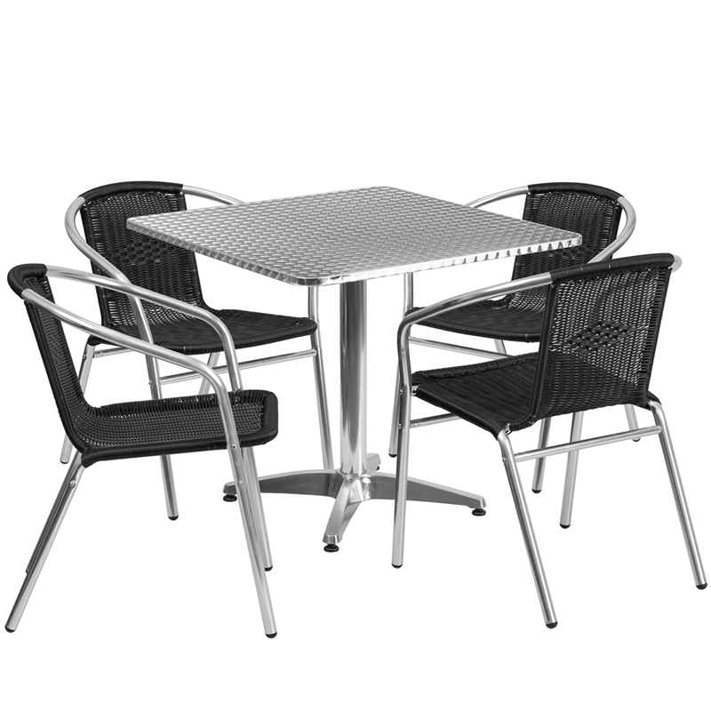 "Thebes Series 31.5"" Square Aluminum Indoor-Outdoor Table with 4 Rattan Chairs"