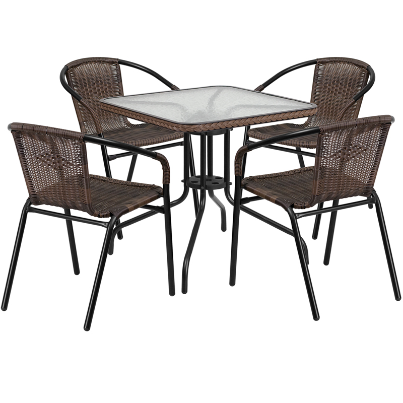 "Thebes Series 28"" Square Glass Table with Rattan Edging & 4 Rattan Stack Chairs"