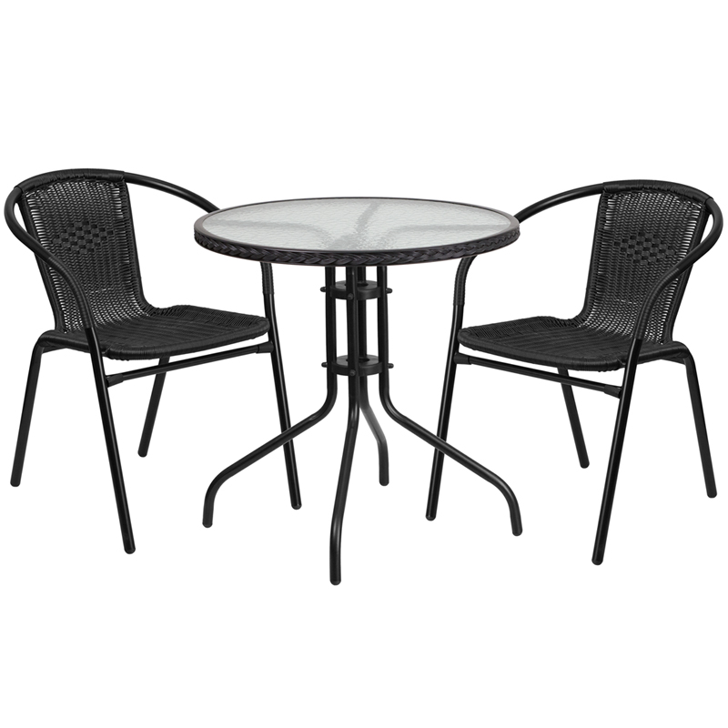 "Thebes Series 28"" Round Glass Table with Rattan Edging & 2 Rattan Stack Chairs"