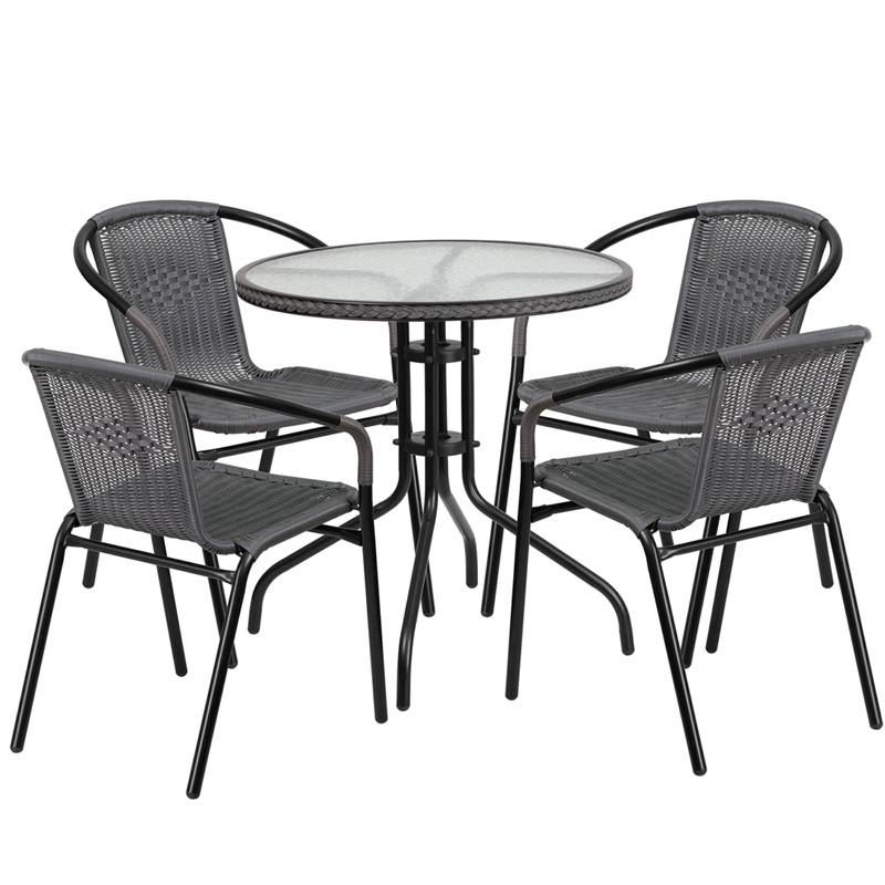 "Thebes Series 28"" Round Glass Table with Rattan Edging & 4 Rattan Stack Chairs"