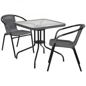 """Thebes Series 28"""" Square Glass Table with Rattan Edging & 2 Rattan Stack Chairs"""