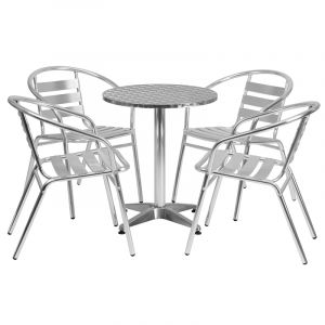 """23.5"""" Round Indoor-Outdoor Aluminum Table with 4 Slat Back Chairs"""