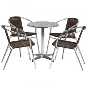 """23.5"""" Round Indoor-Outdoor Aluminum Table with 4 Brown Rattan Chairs"""