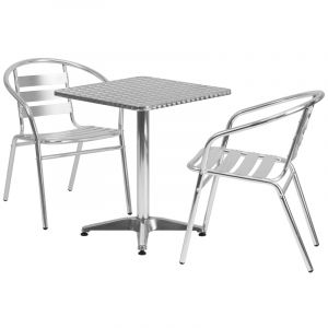"""23.5"""" Square Indoor-Outdoor Aluminum Table with 2 Slat Back Chairs"""