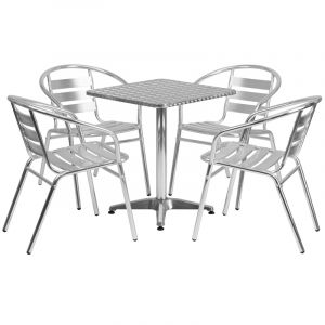 """23.5"""" Square Indoor-Outdoor Aluminum Table with 4 Slat Back Chairs"""