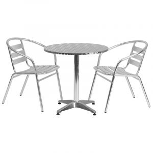 """27.5"""" Round Indoor-Outdoor Aluminum Table with 2 Slat Back Chairs"""