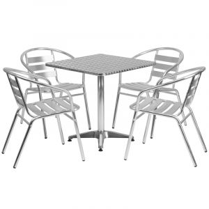 """27.5"""" Square Indoor-Outdoor Aluminum Table with 4 Slat Back Chairs"""