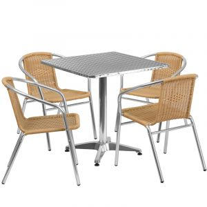 """Thebes Series 27.5"""" Square Aluminum Indoor-Outdoor Table with 4 Rattan Chairs"""