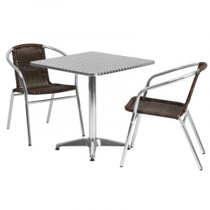 """27.5"""" Square Indoor-Outdoor Aluminum Table with 2 Brown Rattan Chairs"""