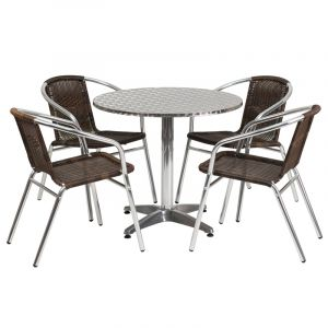 """31.5"""" Round Indoor-Outdoor Aluminum Table with 4 Brown Rattan Chairs"""