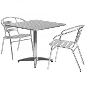 """31.5"""" Square Indoor-Outdoor Aluminum Table with 2 Slat Back Chairs"""