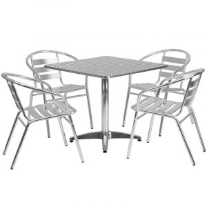 """31.5"""" Square Indoor-Outdoor Aluminum Table with 4 Slat Back Chairs"""