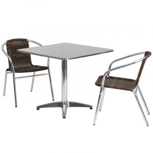 """31.5"""" Square Indoor-Outdoor Aluminum Table with 2 Brown Rattan Chairs"""