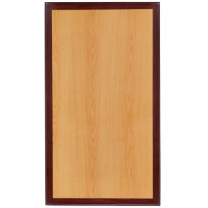 Pro-Tough Commercial Two-Tone Cherry & Mahogany Rectangular Table Top