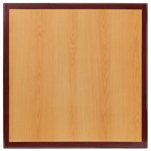 Pro-Tough Commercial Two-Tone Cherry & Mahogany Square Table Top