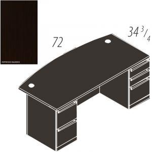"""Cherryman Verde Series Bowfront 72"""" Double Pedestal Desk"""