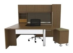 "Cherryman Verde Series Arc U-Desk, Rolling Pedestal, Storage Hutch with Wood Doors, Storage Tower, Lateral File, 42"" Bridge, Left Configuration"
