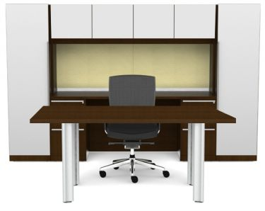 Cherryman Verde Series Rectangular Desk & Storage Hutch with Dual Pedestals & Storage Towers