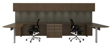 Cherryman Verde Series Dual Workstation Arc L-Desks with Wall Mount Storage & Storage Pedestals