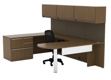 Cherryman Verde Series Arc U-Desk with Multi-Storage Pedestal & Wall Mount Cabinets, Left Configuration