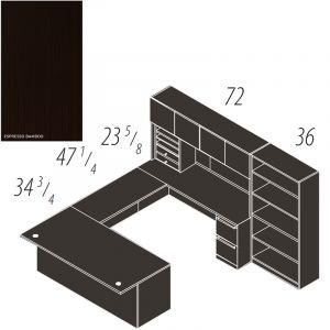 "Cherryman Verde Series U-Desk, 47"" Bridge, Multi-Pedestal, Storage Hutch with Wood Doors, Bookcase"