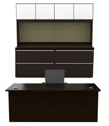 Cherryman Verde Series Double Pedestal Desk, Lateral File Credenza, & Storage Hutch with Glass Doors