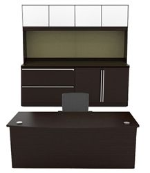 Cherryman Verde Series Bowfront Desk, Credenza, & Storage Hutch with Wood Doors