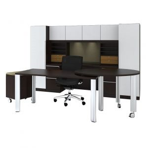 Cherryman Verde Series Desk with Pivot & Mobile Pedestal, Storage Hutch with Organizers, & Dual Storage Towers