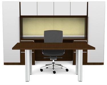 Cherryman Verde Series Rectangular Desk & Storage Hutch with Dual Pedestals & Storage Towers