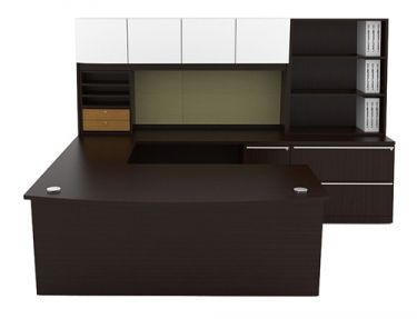 "Cherryman Verde Series Bowfront U-Desk, 47"" Bridge, Storage Hutch with Organizers, Lateral File, & Hutch Bookcase"