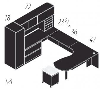 "Cherryman Verde Series Arc U-Desk, 36"" Bridge, Wood Door Storage Hutch, Storage Tower, Rolling Pedestal, & Lateral File, Left Configuration"