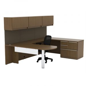 Cherryman Verde Series Arc U-Desk with Multi-Storage Pedestal & Wall Mount Cabinets, Right Configuration