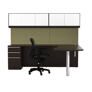 Cherryman Verde Series Arc U-Desk with Storage Pedestal & Glass Door Wall Mount Cabinets, Left Configuration