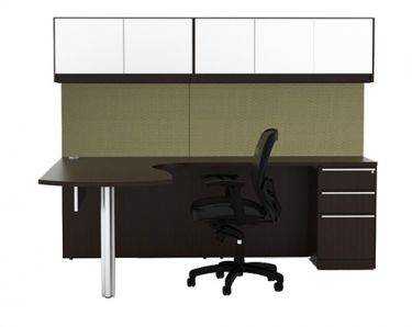 Cherryman Verde Series Arc U-Desk with Storage Pedestal & Glass Door Wall Mount Cabinets, Right Configuration